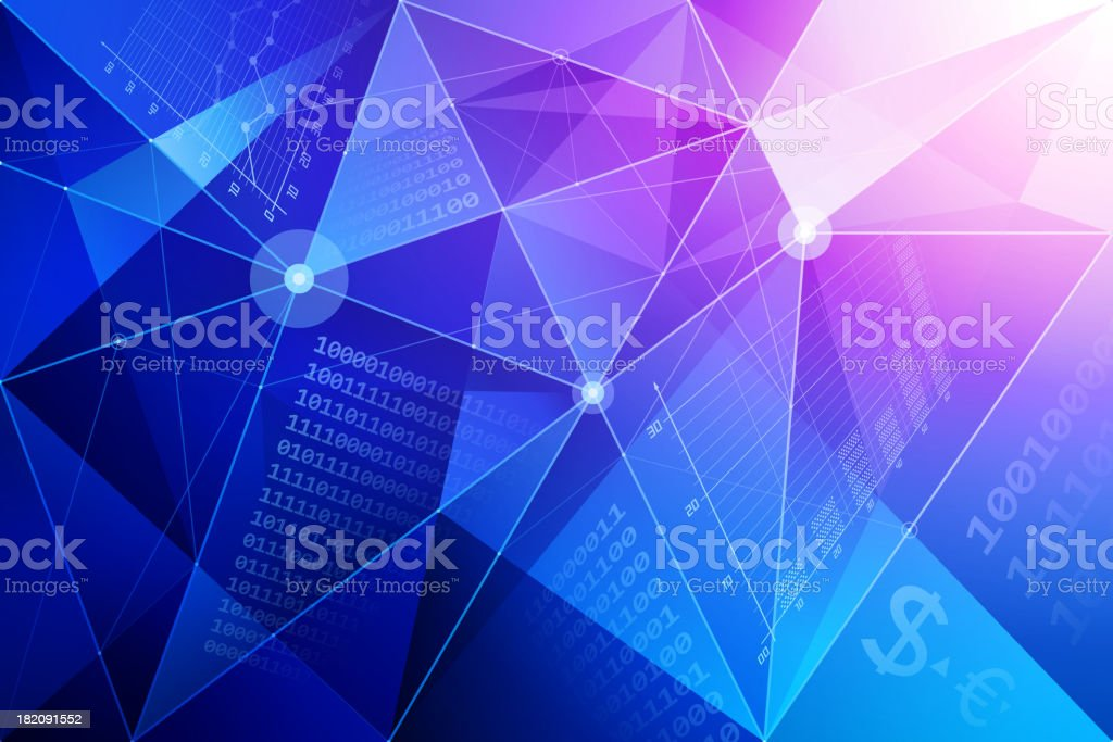 Abstract background with financial symbols vector art illustration
