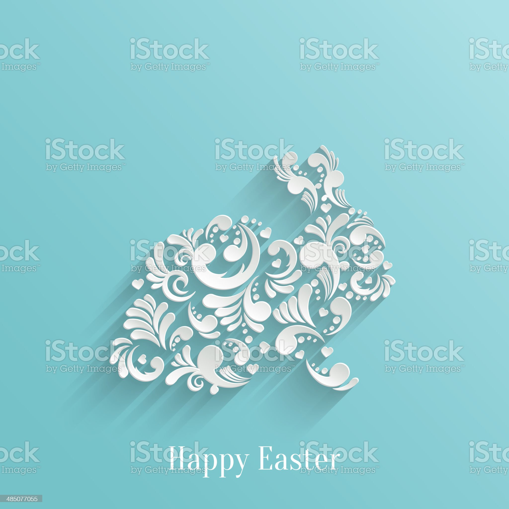 Abstract Background with Floral Easter Rabbit royalty-free stock vector art