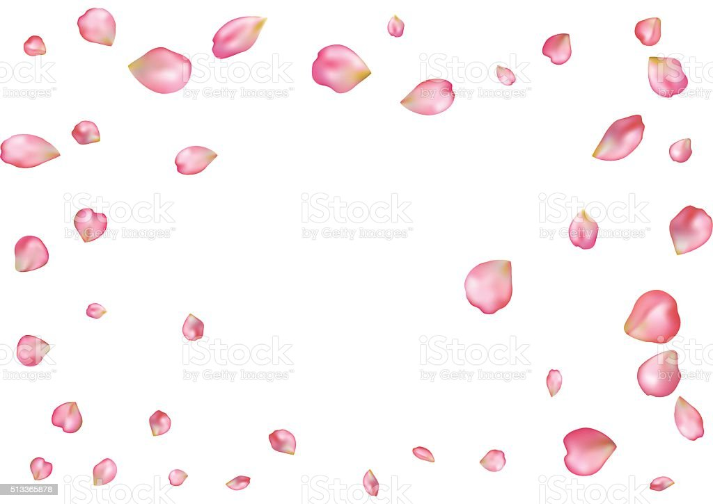 Abstract background with flying pink rose petals. vector art illustration