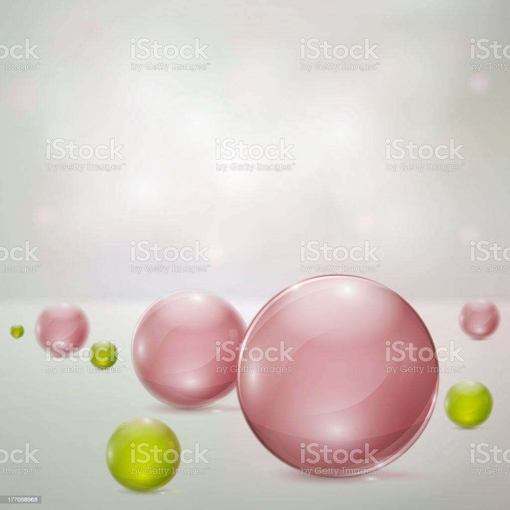 Abstract background with glass spheres royalty-free stock vector art