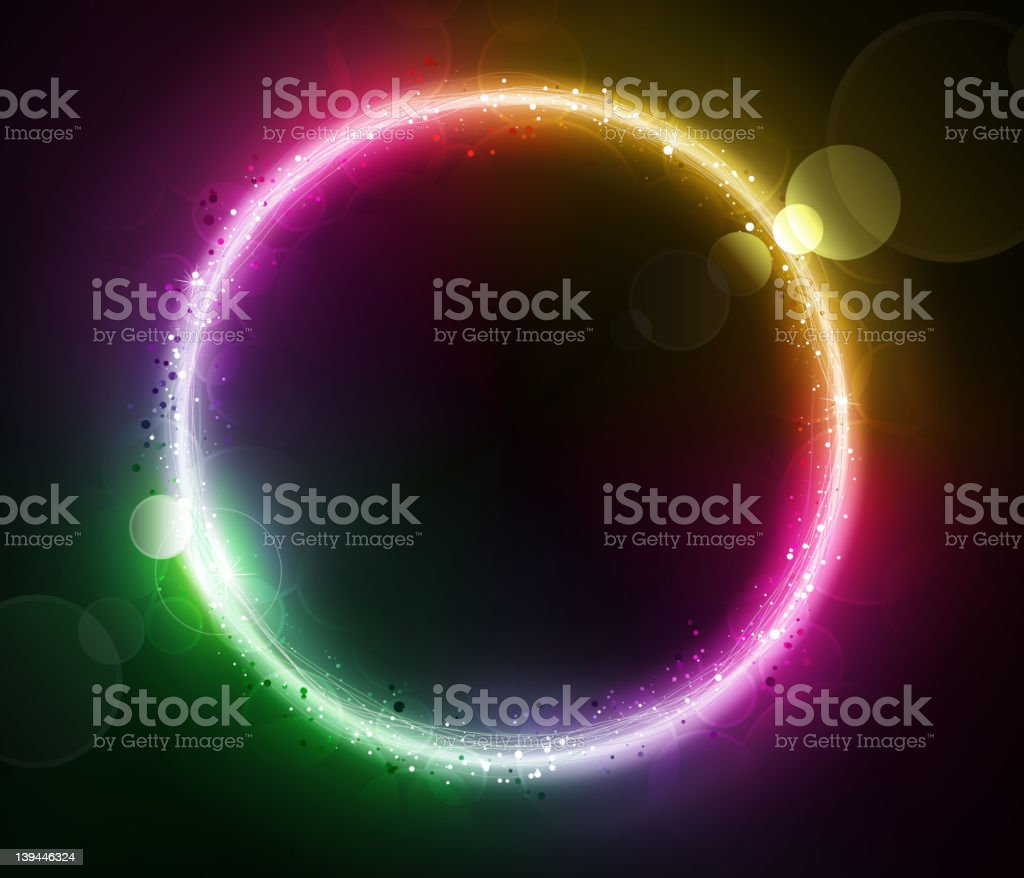 Abstract background with neon light circle royalty-free stock vector art