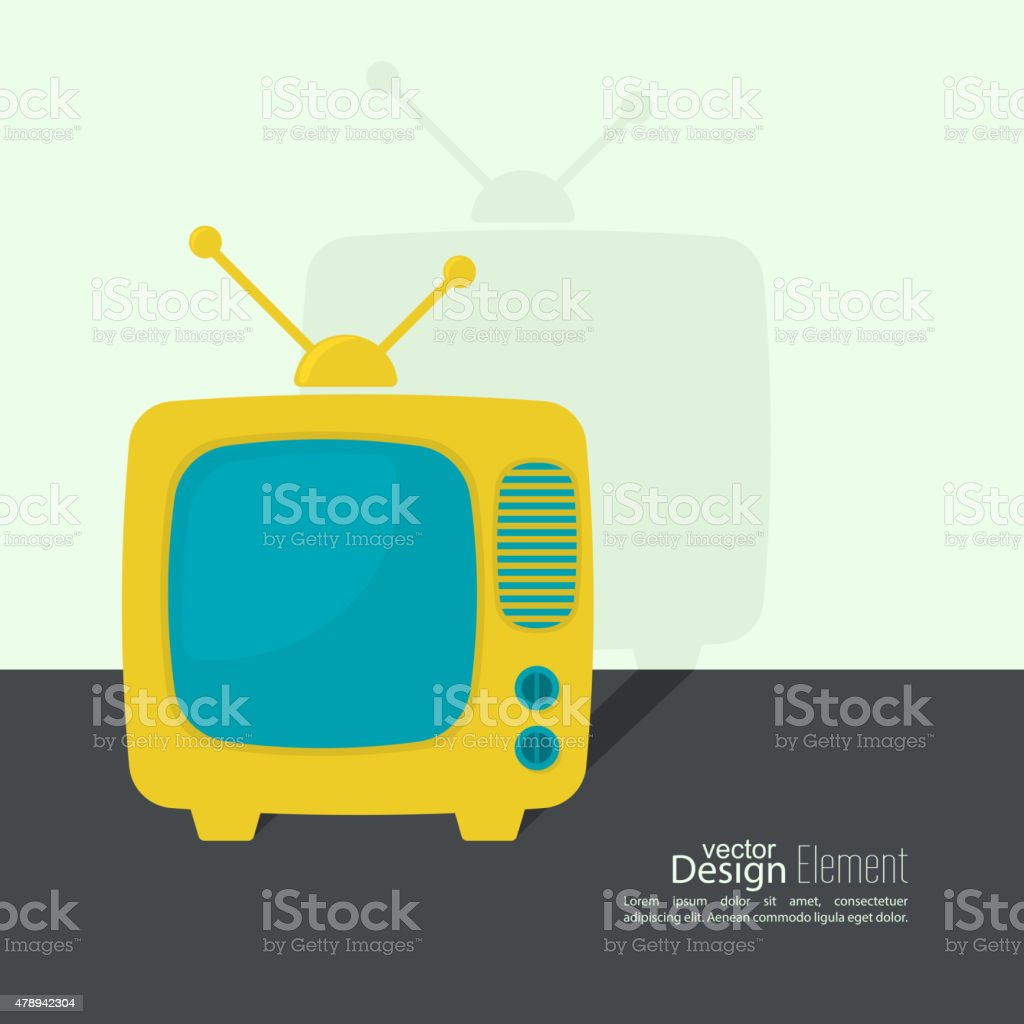 Abstract background with old TV and antenna vector art illustration