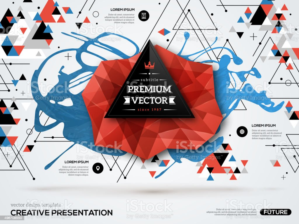 Abstract background with paint stain geometric vector art illustration