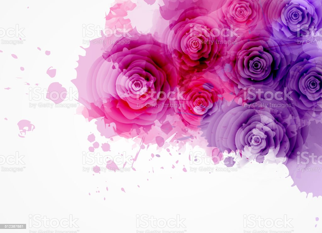 Abstract background with roses vector art illustration