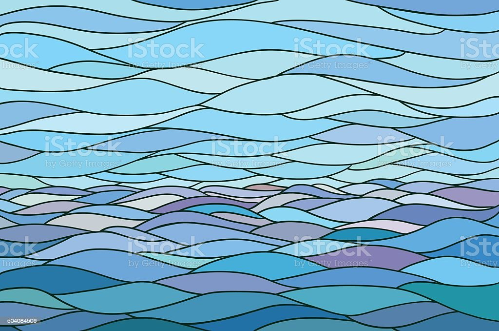 Abstract background with stylized wave and sky vector art illustration