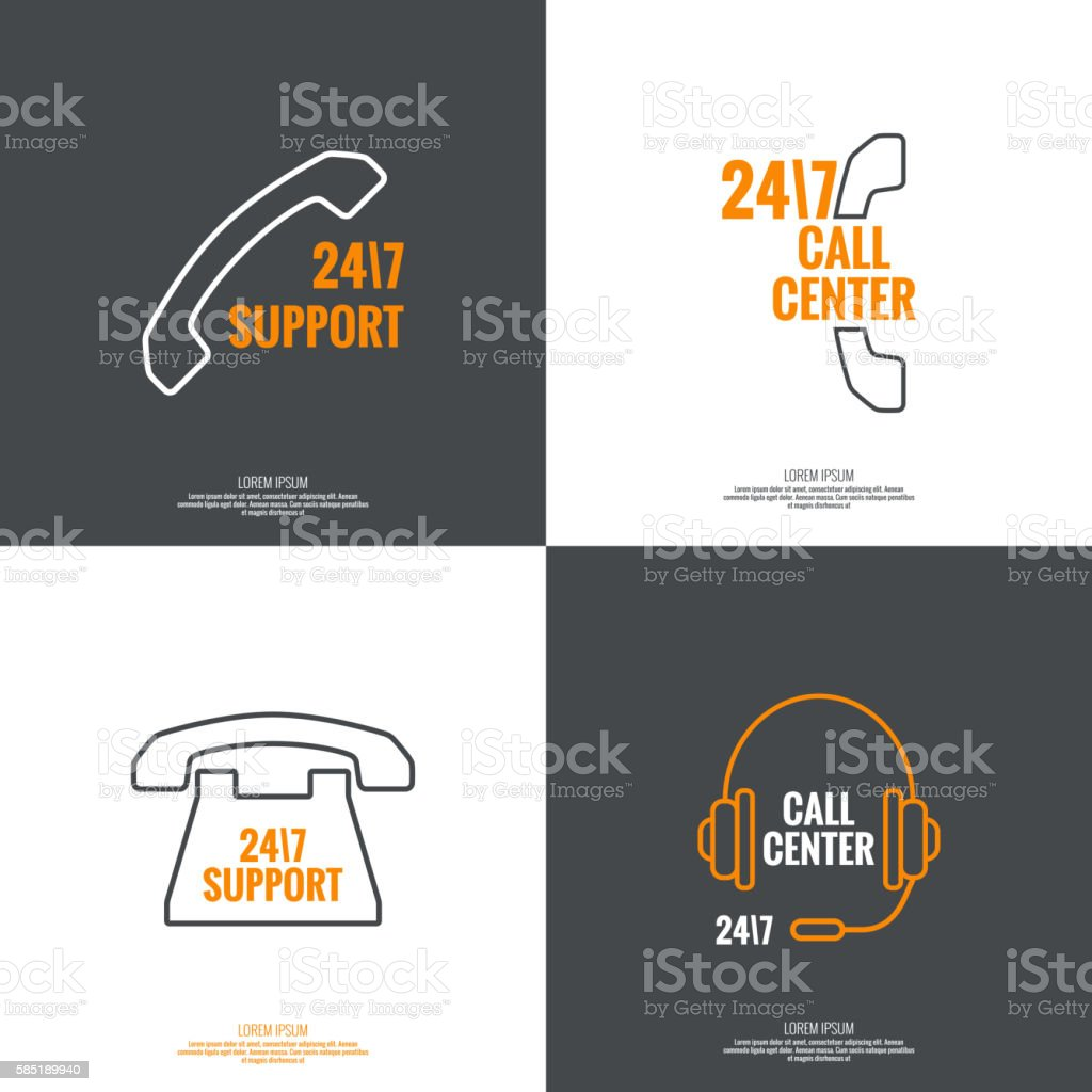 Abstract background with telephone and handset. vector art illustration