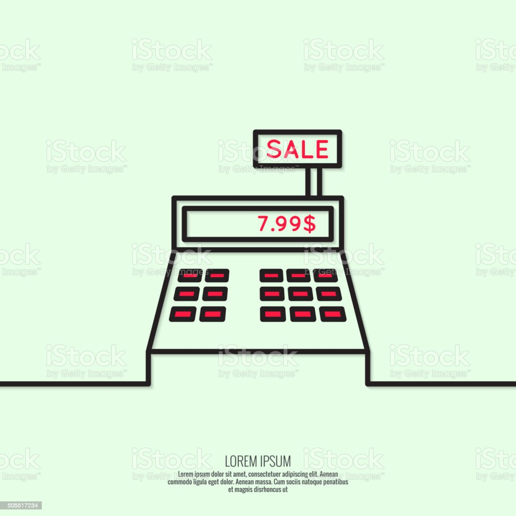 Abstract background with the cash register vector art illustration