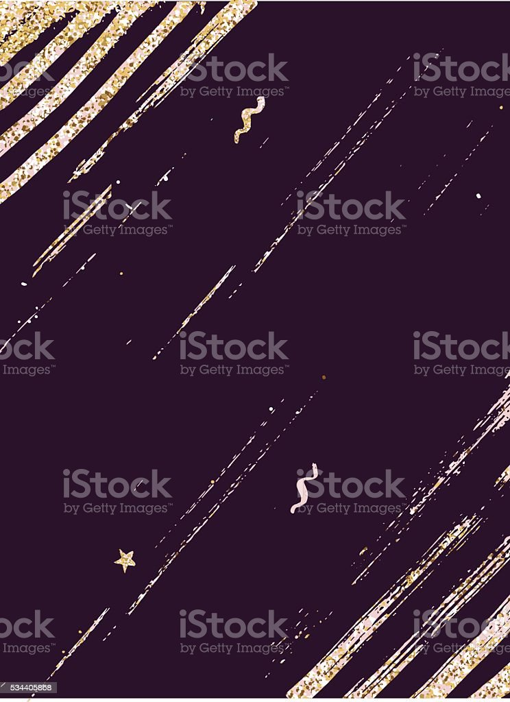 Abstract background with trendy gold glitter textured brush stro vector art illustration
