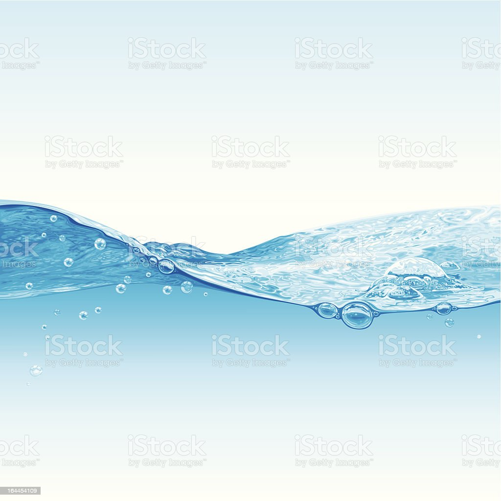 Abstract background with wave of water and bubbles vector art illustration