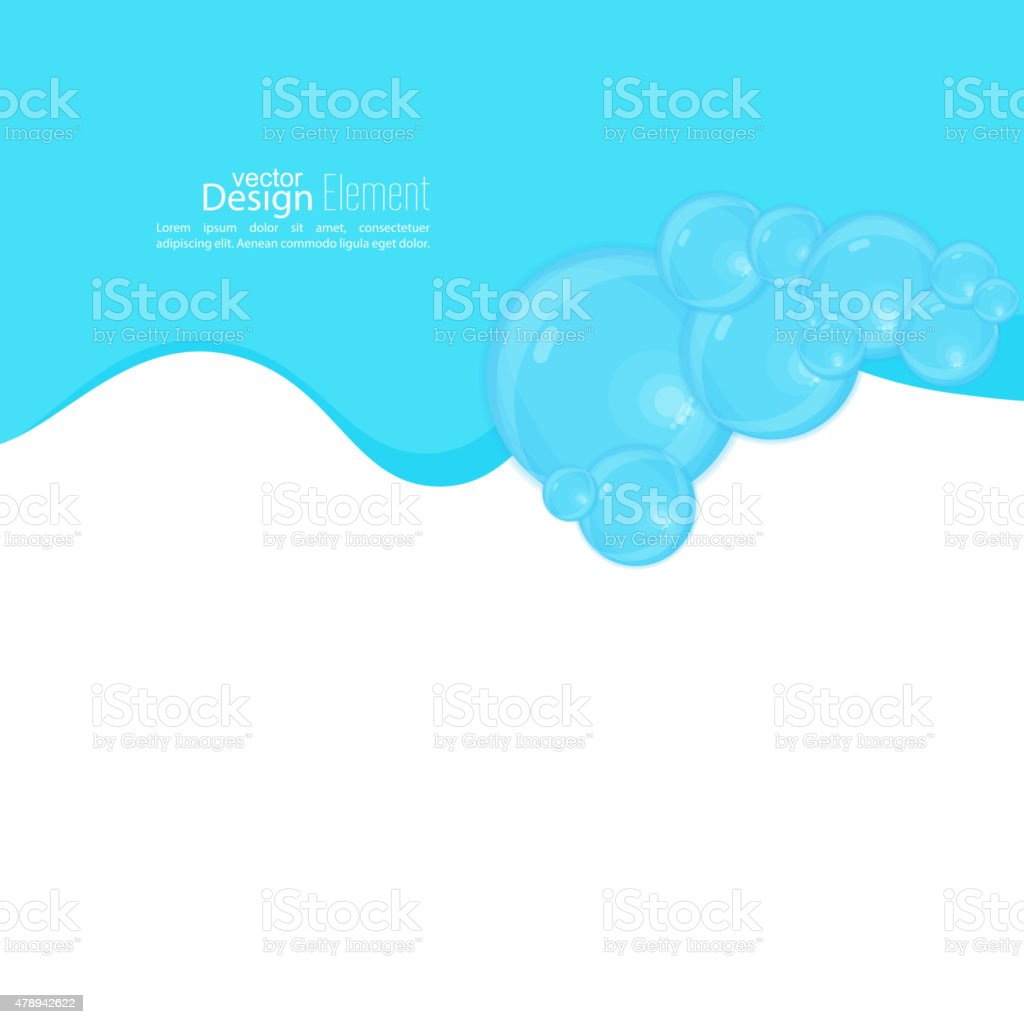 Abstract background with waves of water and bubbles vector art illustration