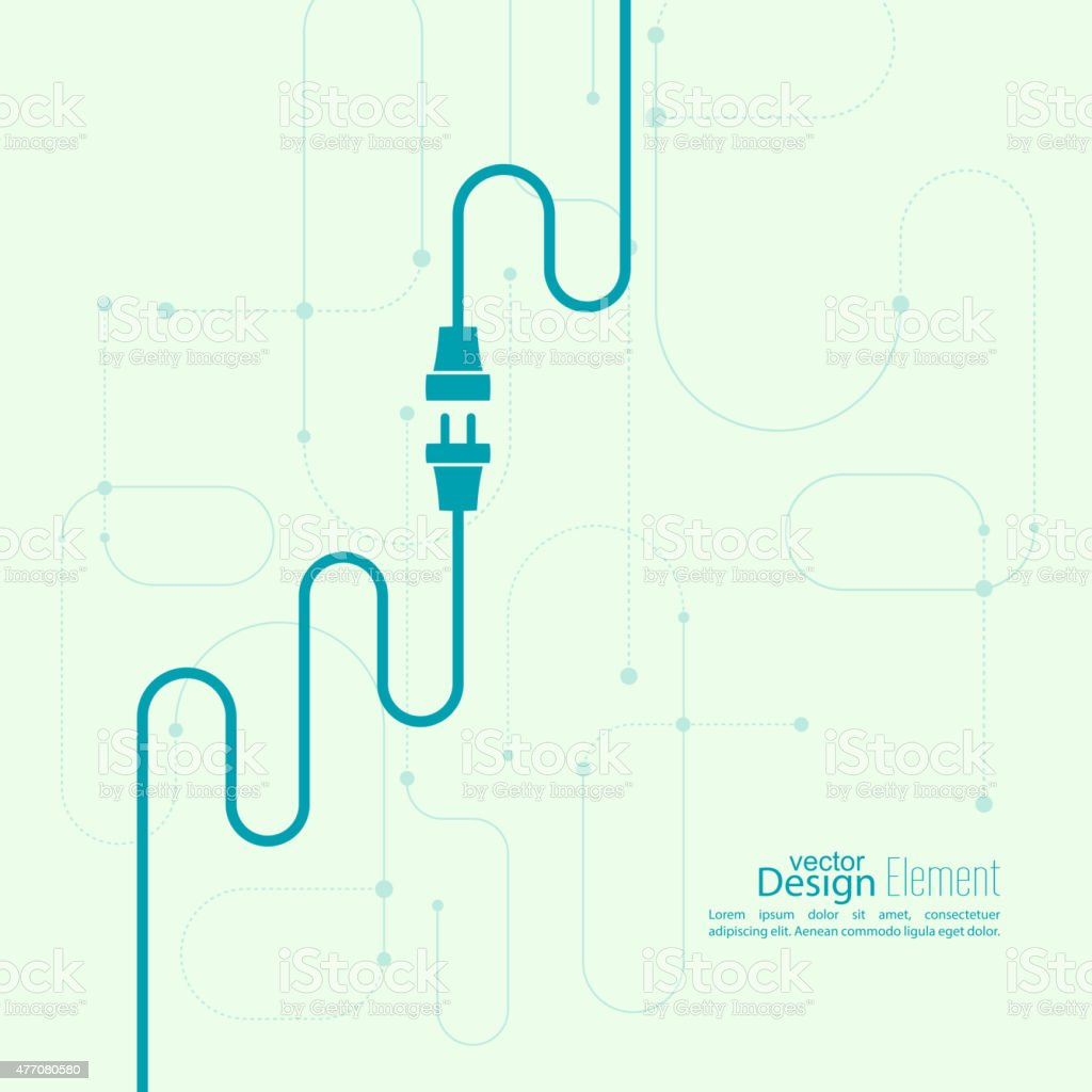 Abstract background with wire plug and socket vector art illustration