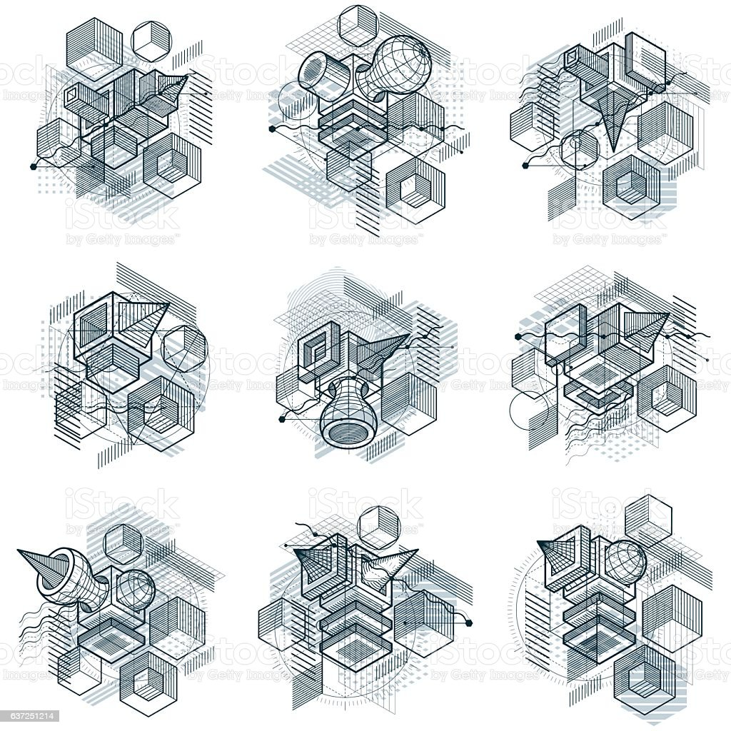 Abstract backgrounds with isometric elements, vector linear art with...