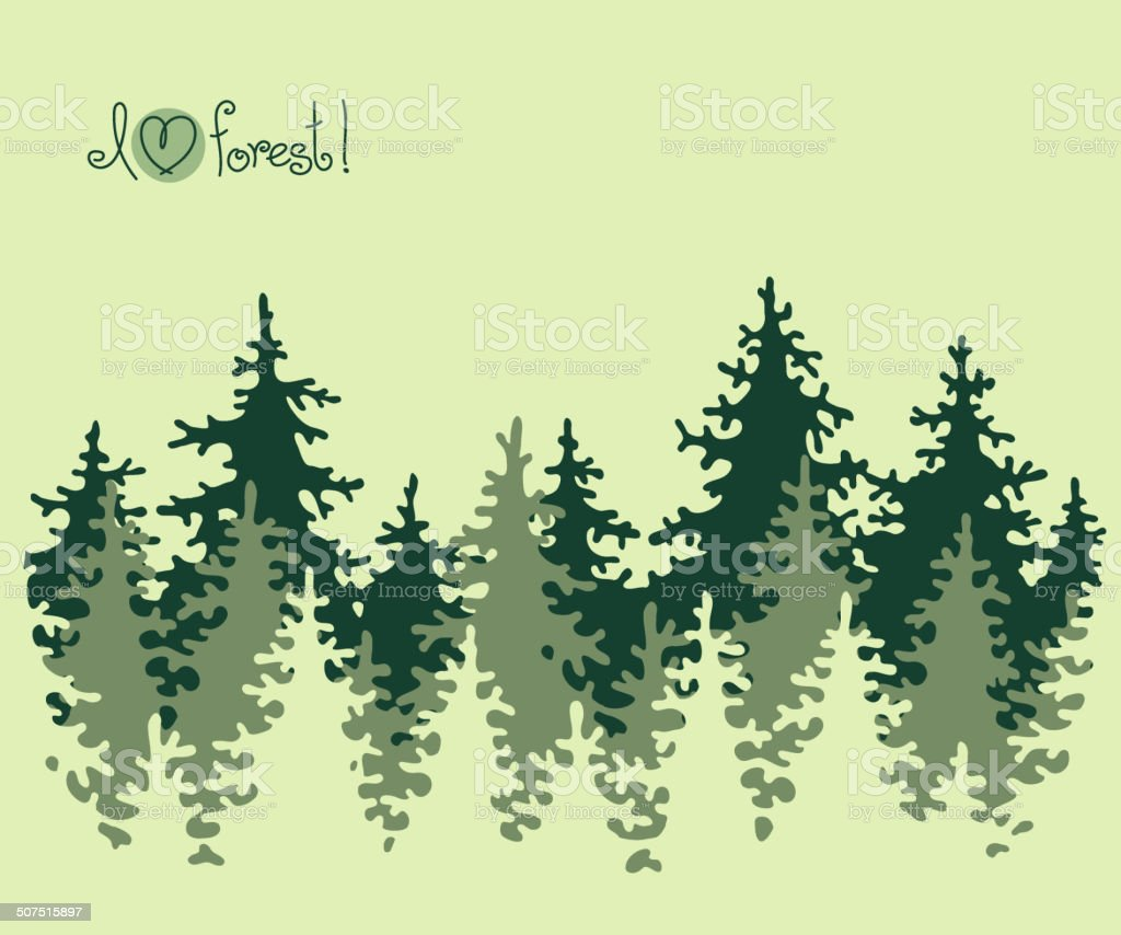 Abstract banner of coniferous forest. vector art illustration