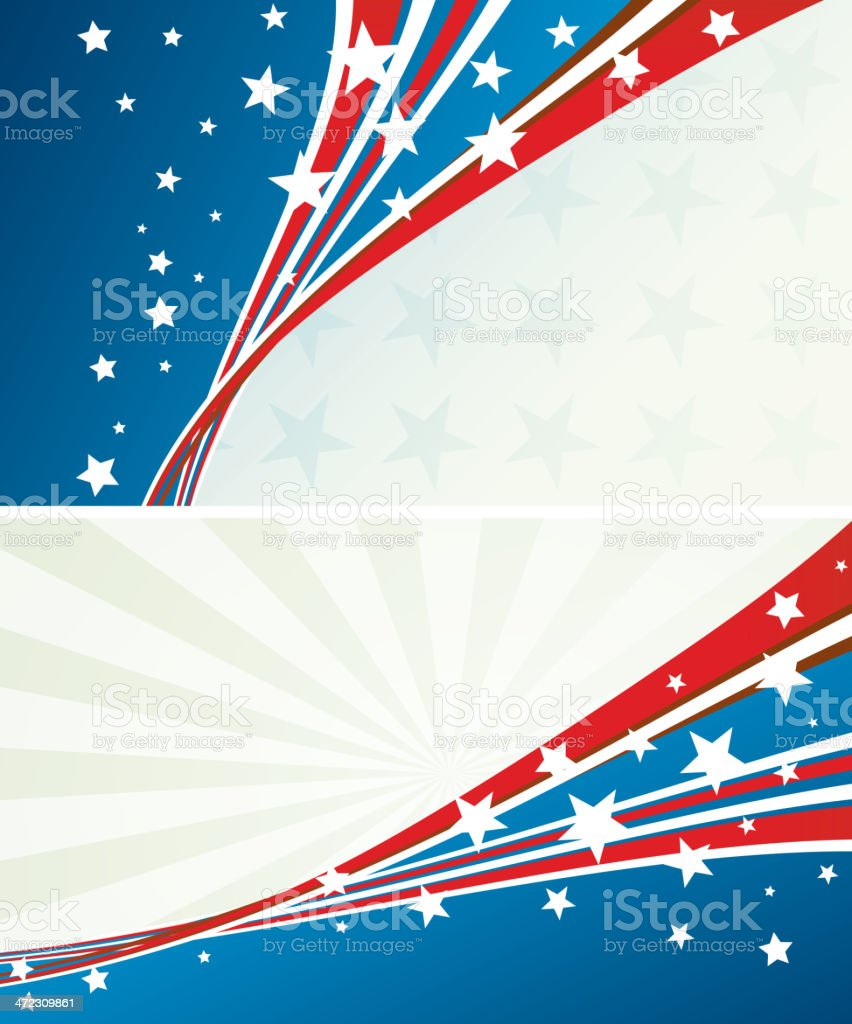 Abstract banner with patriotic colors and stars royalty-free stock vector art