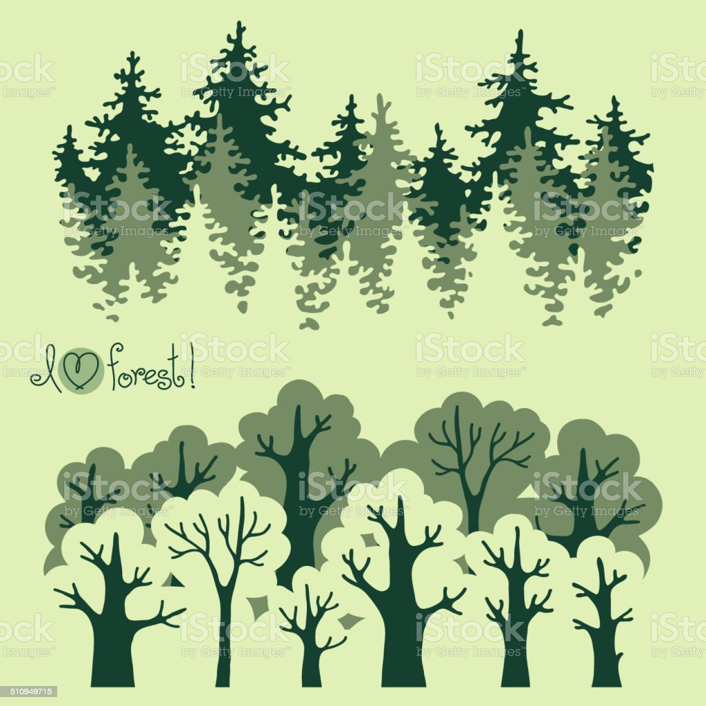 Abstract banners of green deciduous  forest and coniferous forest. vector art illustration