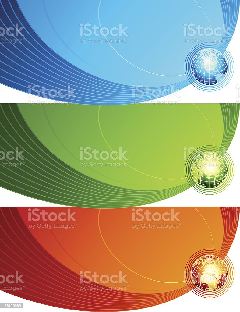 Abstract banners with globes. royalty-free stock vector art