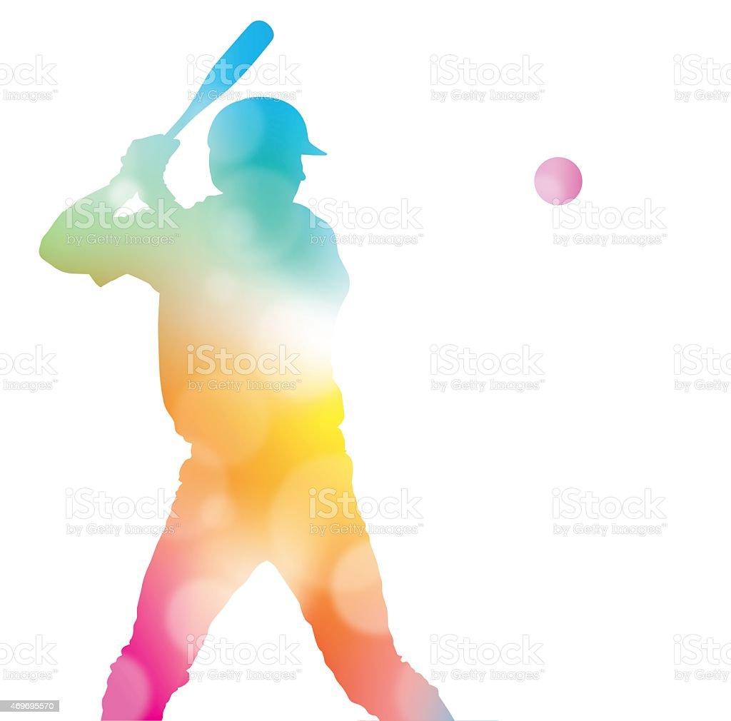 Abstract Baseball Player in Beautiful Summer Haze. vector art illustration