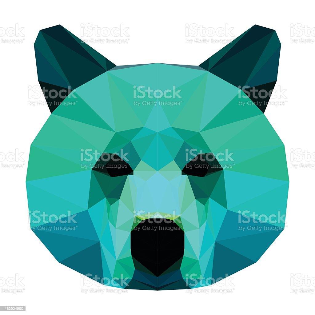 Abstract bear head. Polygonal geometric triangle bright isolated portrait vector art illustration