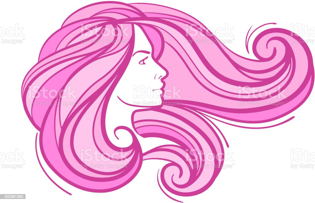 abstract beautiful young girl with long hair. vector illustration vector art illustration