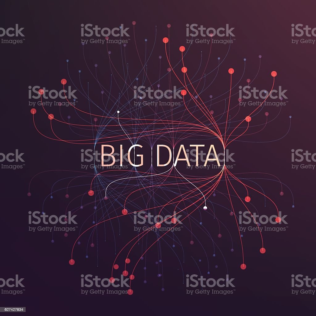 Abstract big data illustration. Analysis of information vector art illustration
