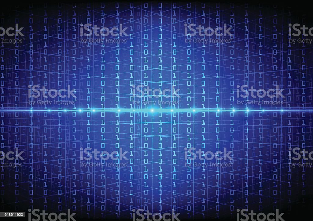Abstract binary code with grid technology background vector art illustration