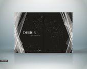 Abstract binder. Black polygonal a4 brochure cover design.
