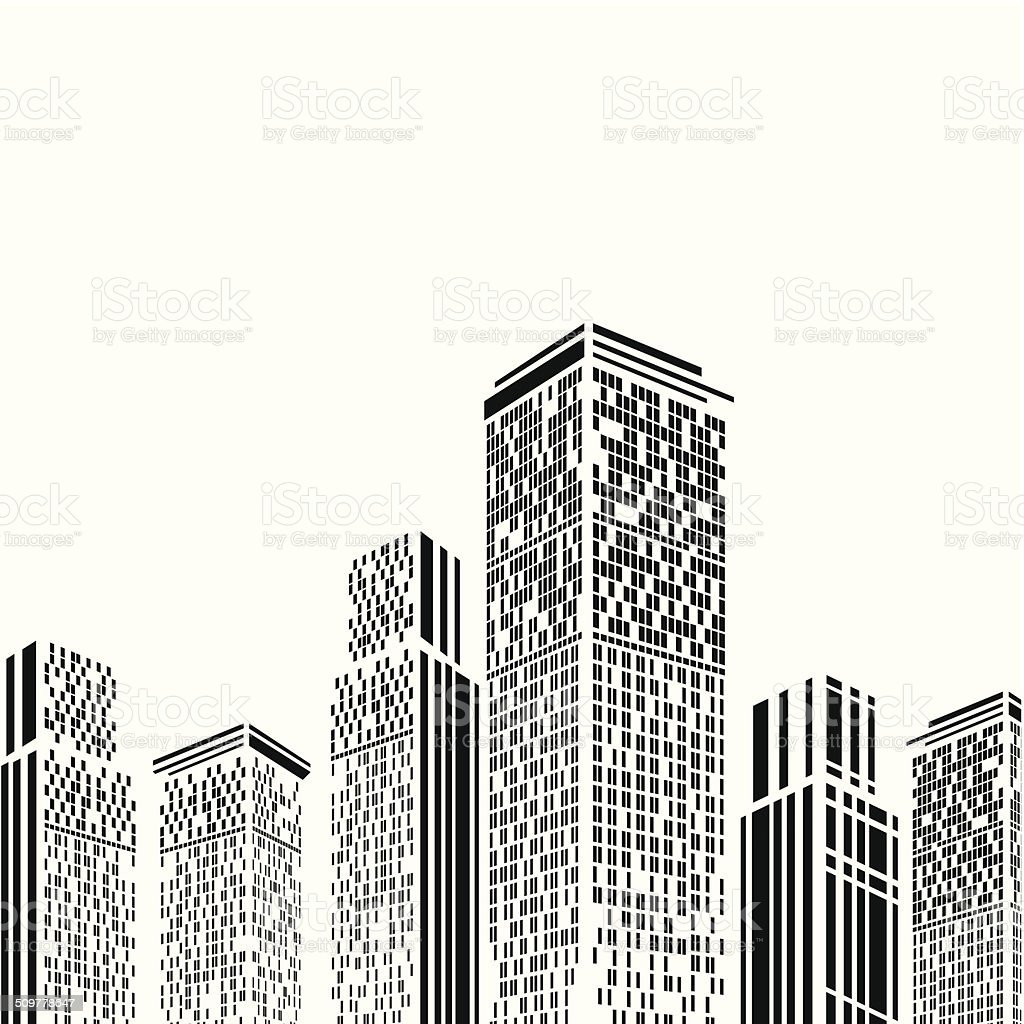 abstract black and white building pattern background vector art illustration
