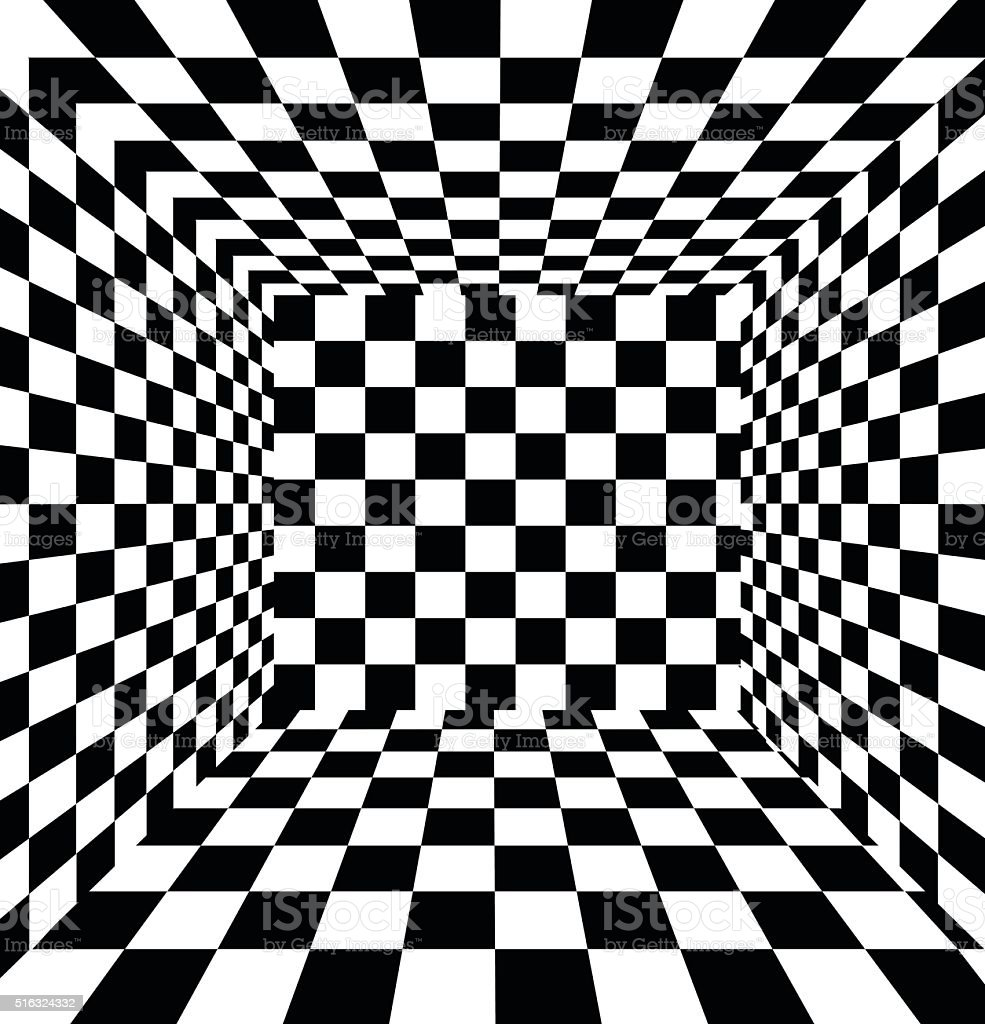Abstract black and white checkered background vector art illustration
