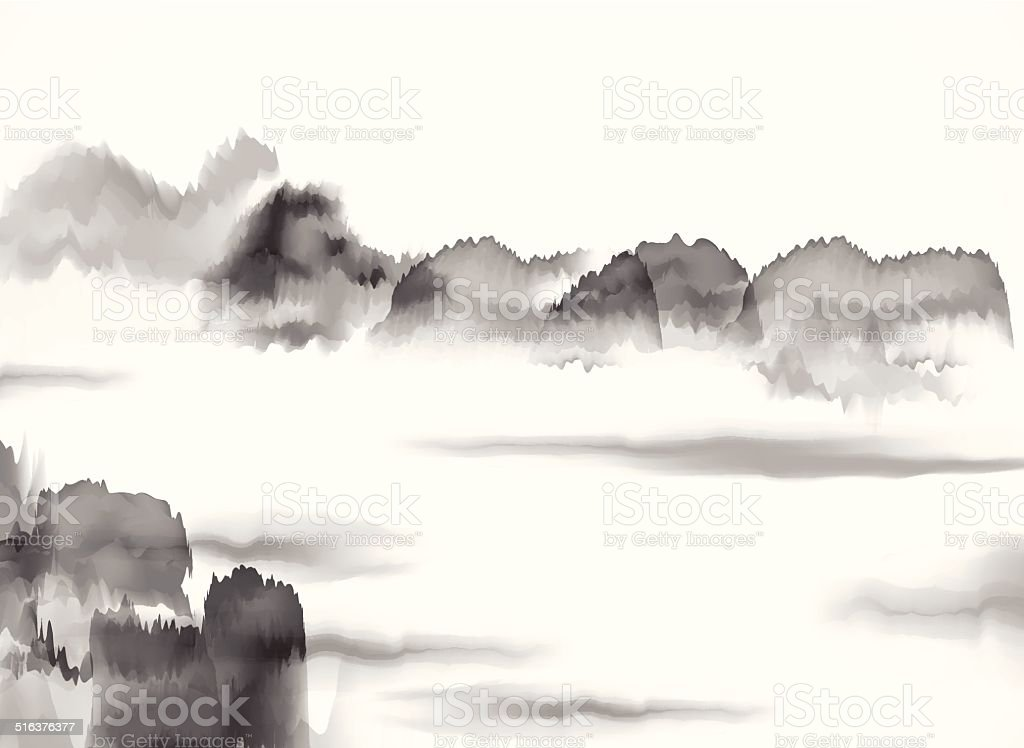 abstract black and white Chinese painting material background vector art illustration