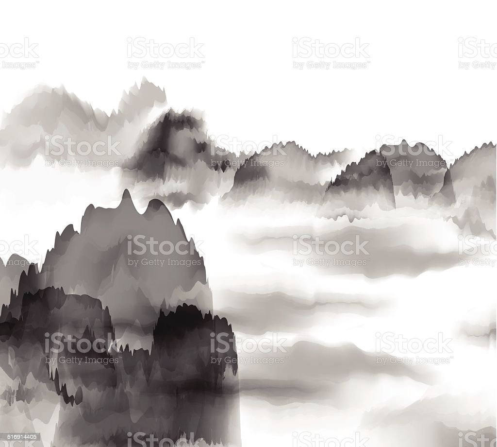abstract black and white Chinese painting mountain background vector art illustration
