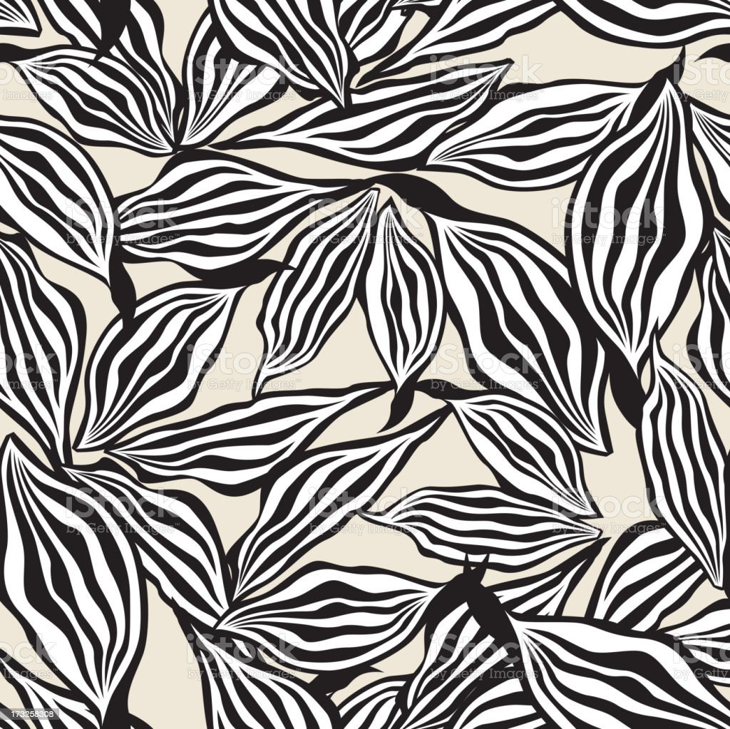 Abstract Black and White Leaves Ornamental Seamless Texture royalty-free stock vector art