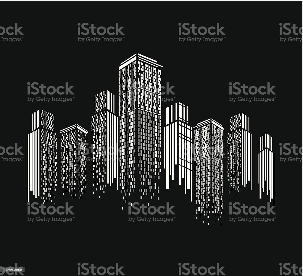 abstract black and white modern building pattern background vector art illustration