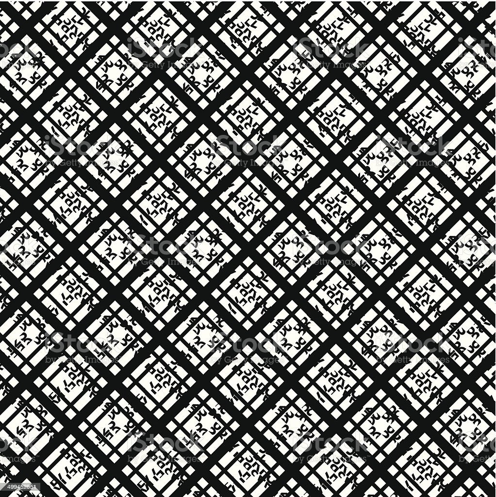 abstract black and white stripe check pattern background vector art illustration