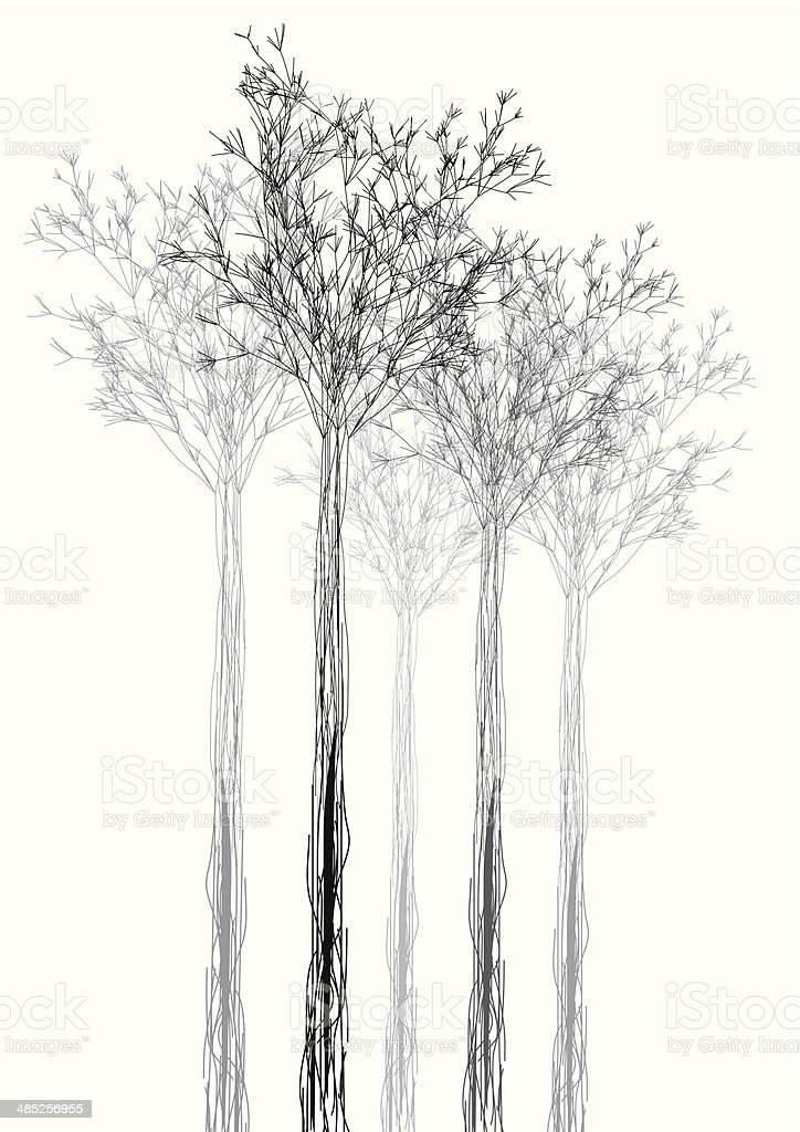 abstract black and white tree shape background vector art illustration