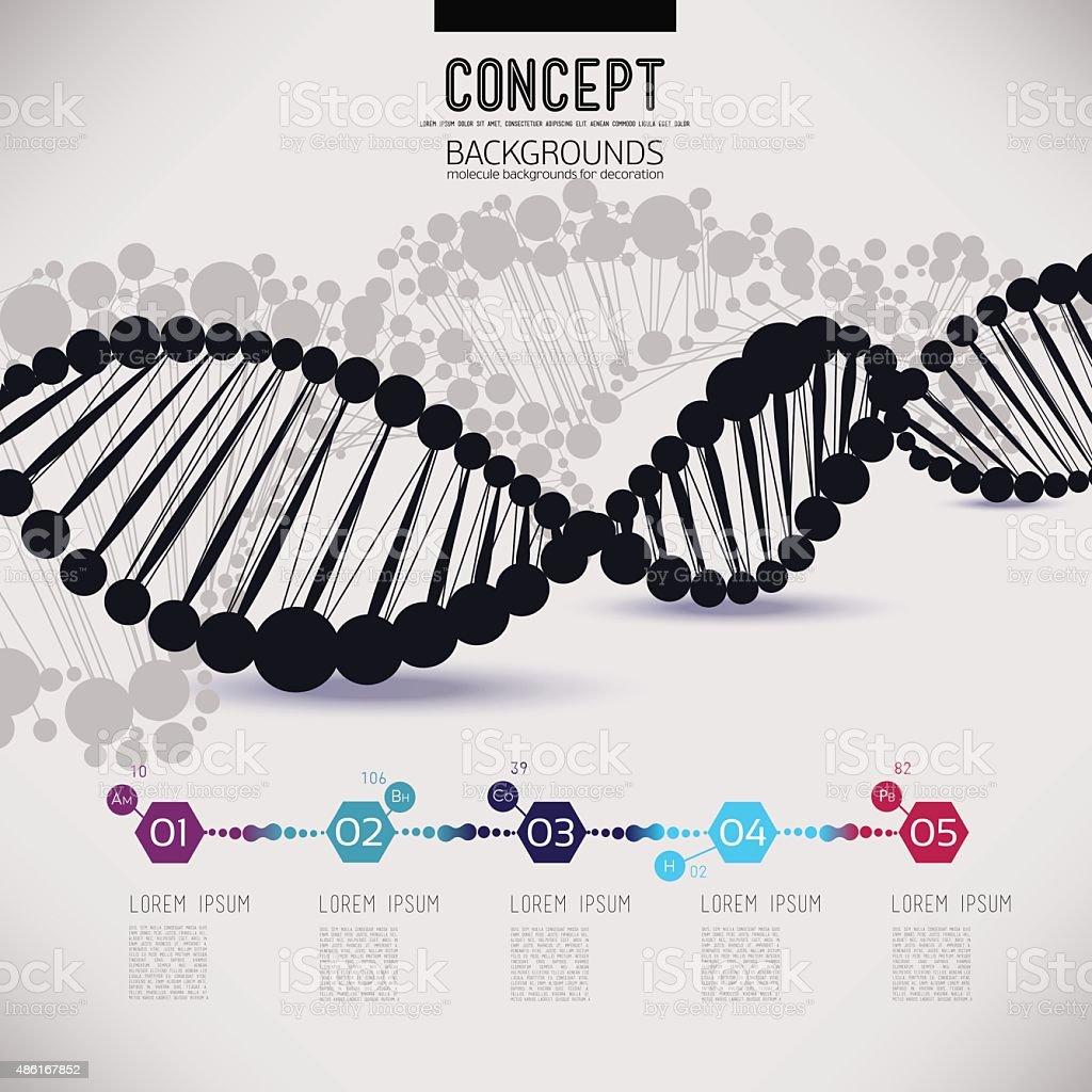 Abstract black geometric lattice DNA vector art illustration