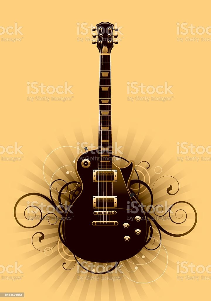 Abstract black guitar design on yellow background royalty-free stock vector art