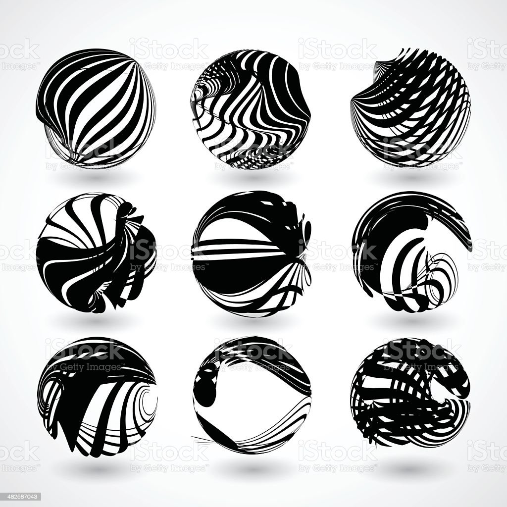abstract black stripe round shape background vector art illustration