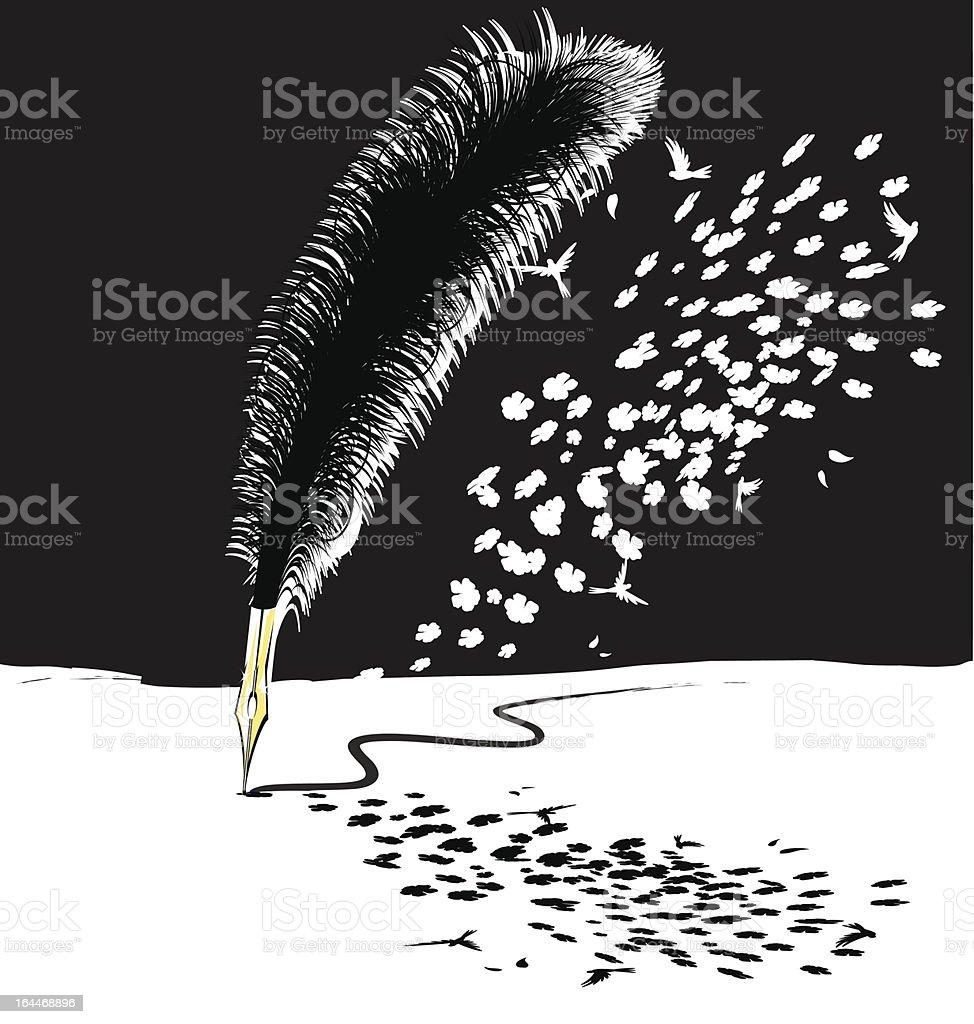 abstract black-white feathers pen vector art illustration
