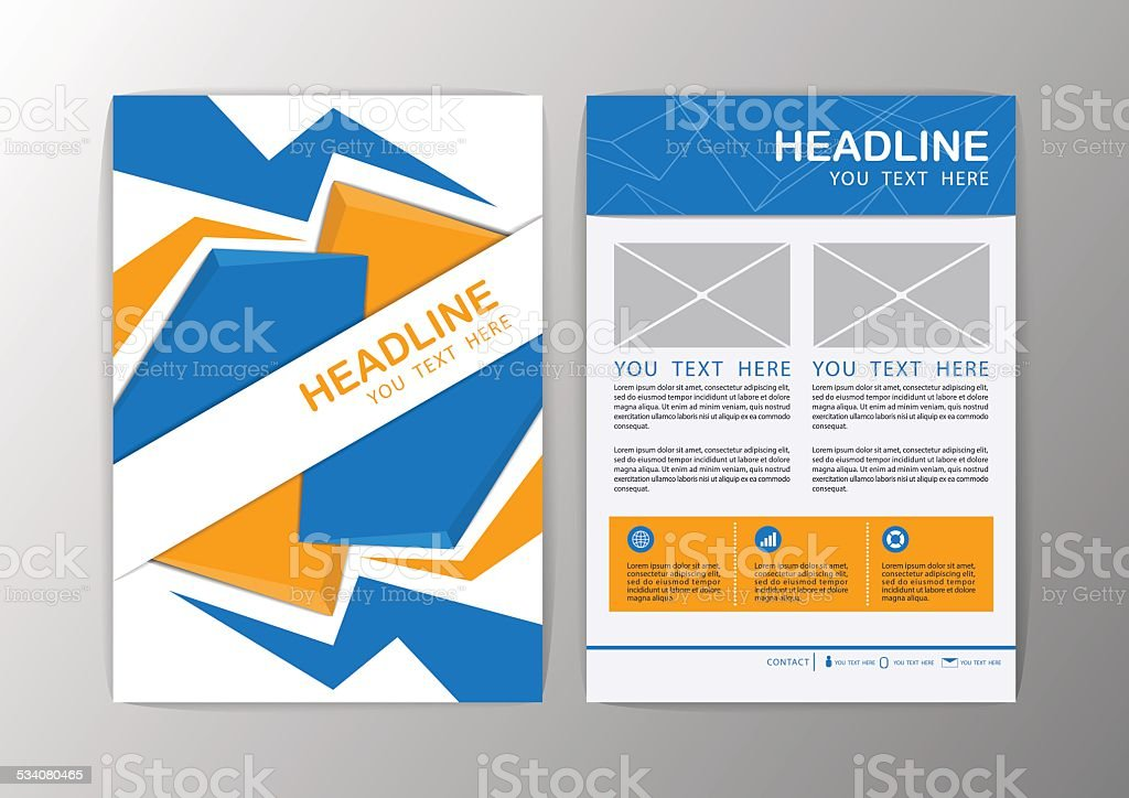 Abstract Blue And Orange Triangle Design Brochure Flyer Template