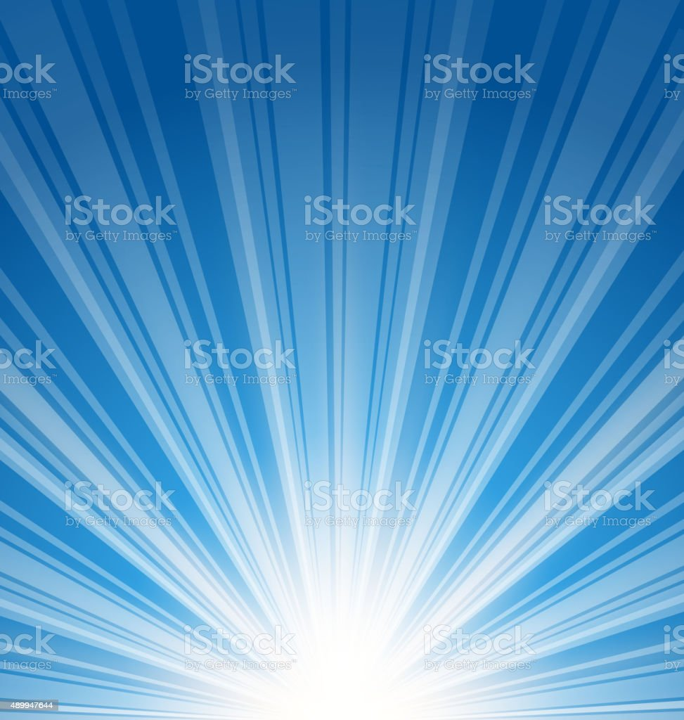 Abstract blue background with sunbeam vector art illustration