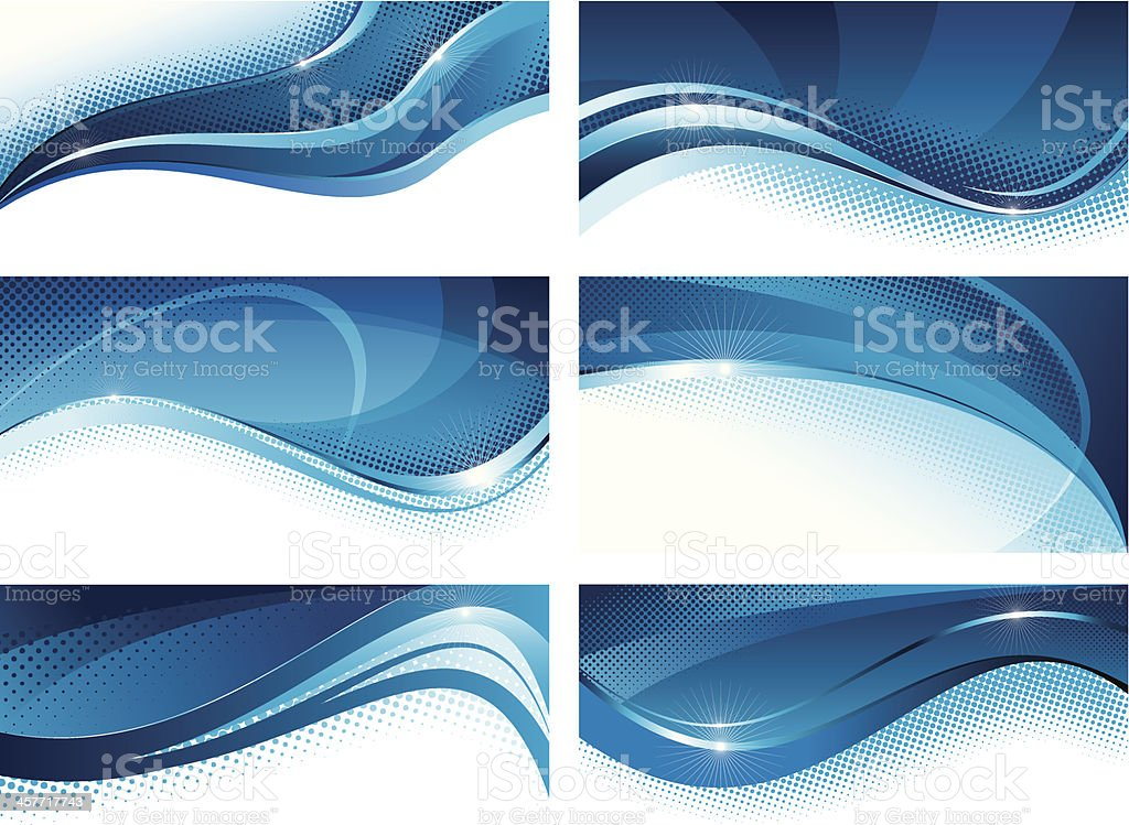 Abstract blue banners set vector art illustration