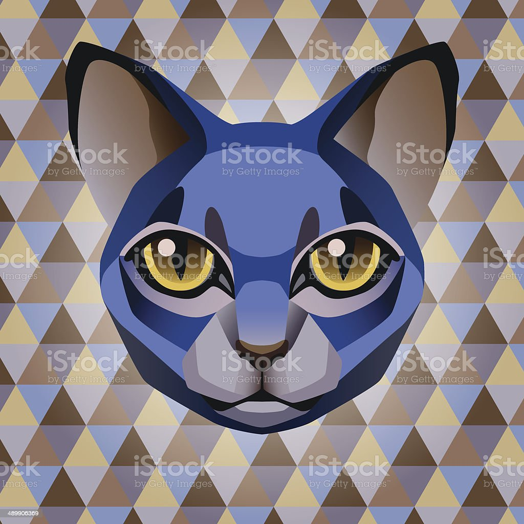 Abstract blue cat on a rhombus background vector art illustration