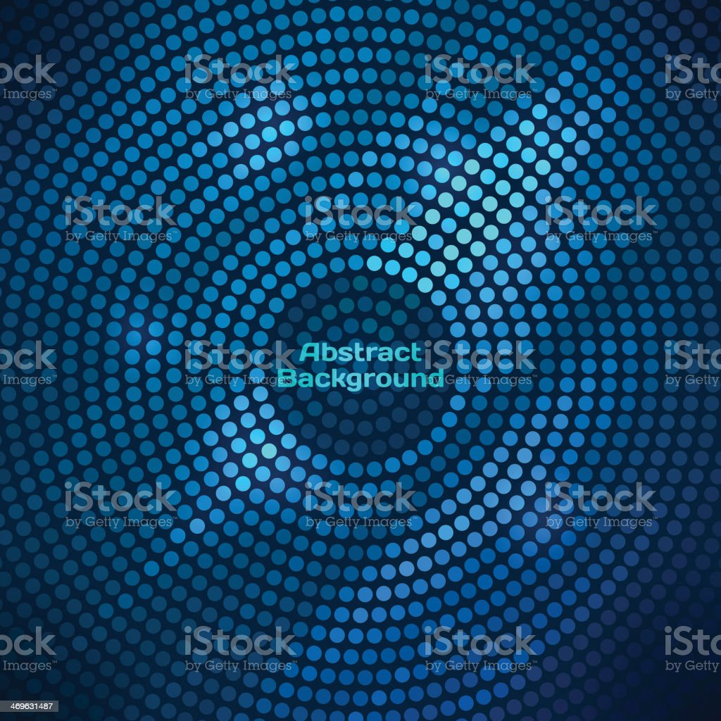Abstract blue disco background with halftone design vector art illustration