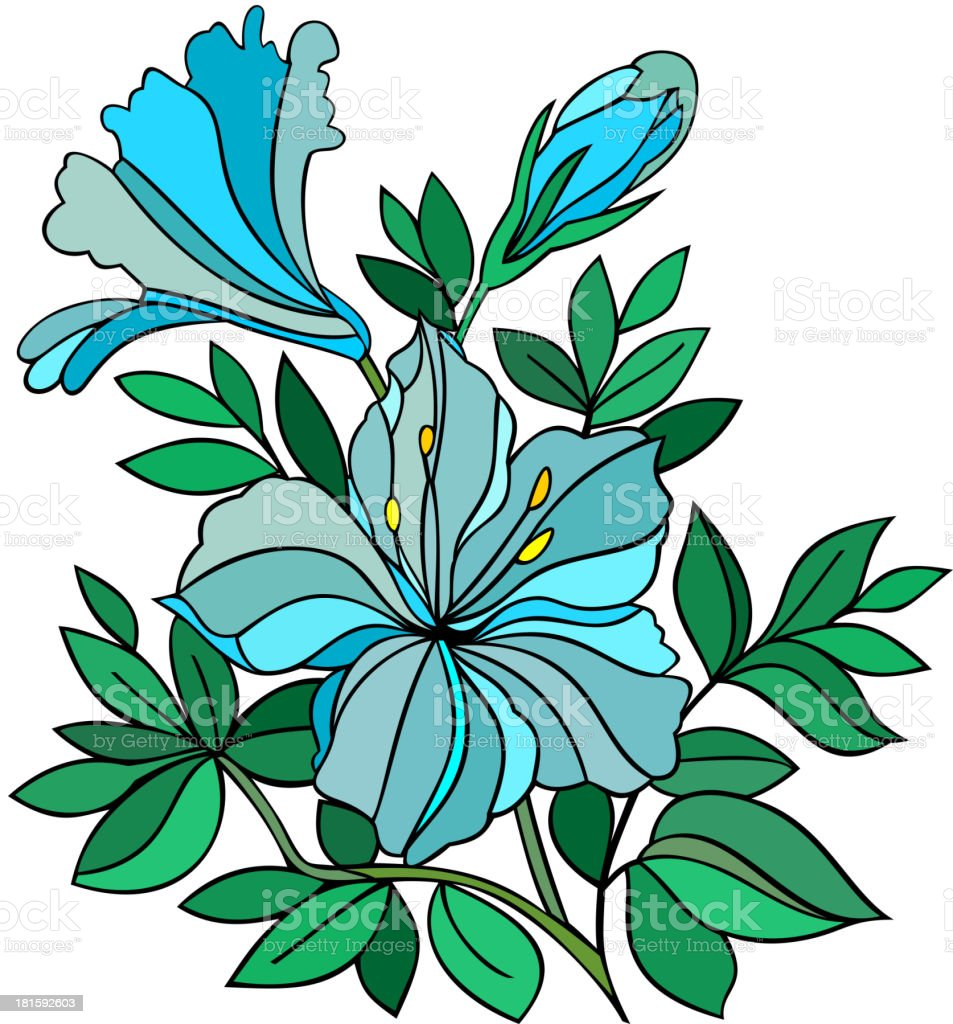 Abstract blue flower royalty-free stock vector art