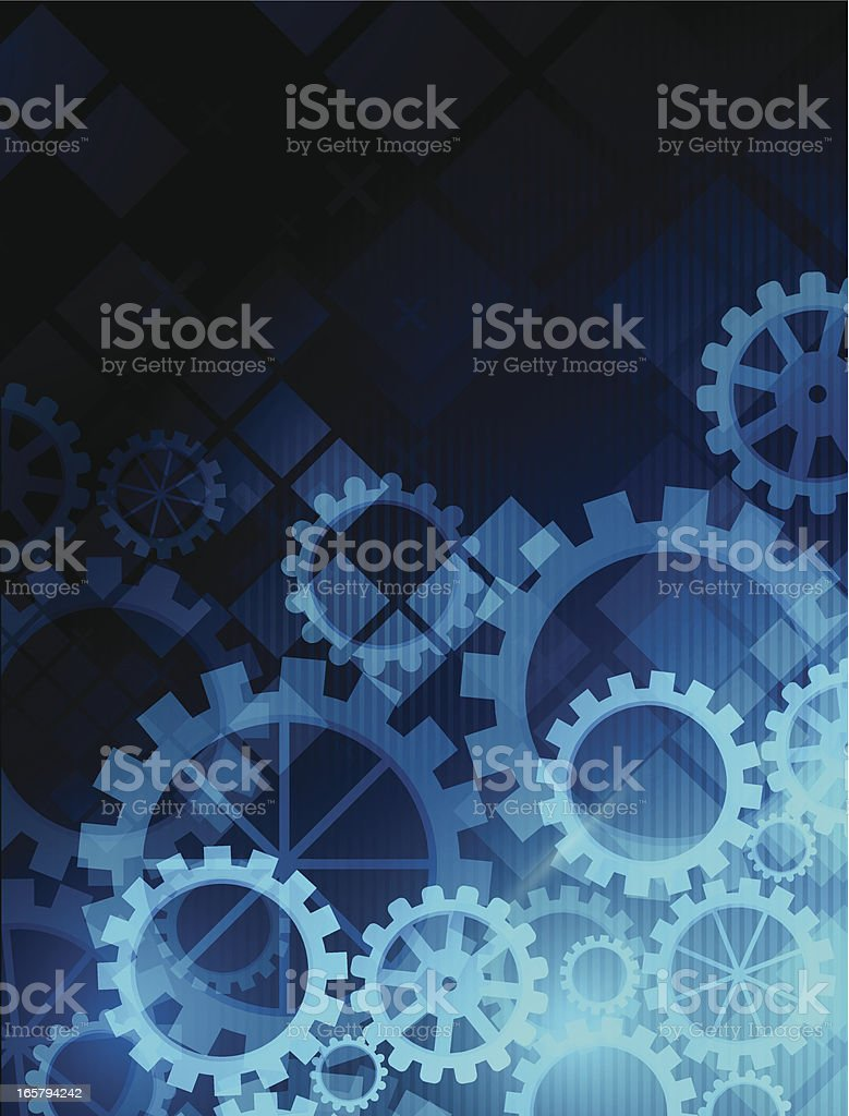 Abstract blue gears background vector art illustration