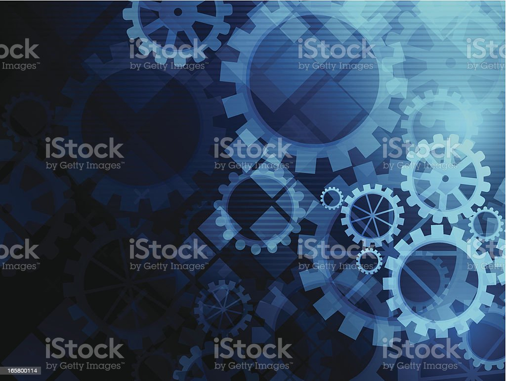 Abstract blue gears background royalty-free stock vector art