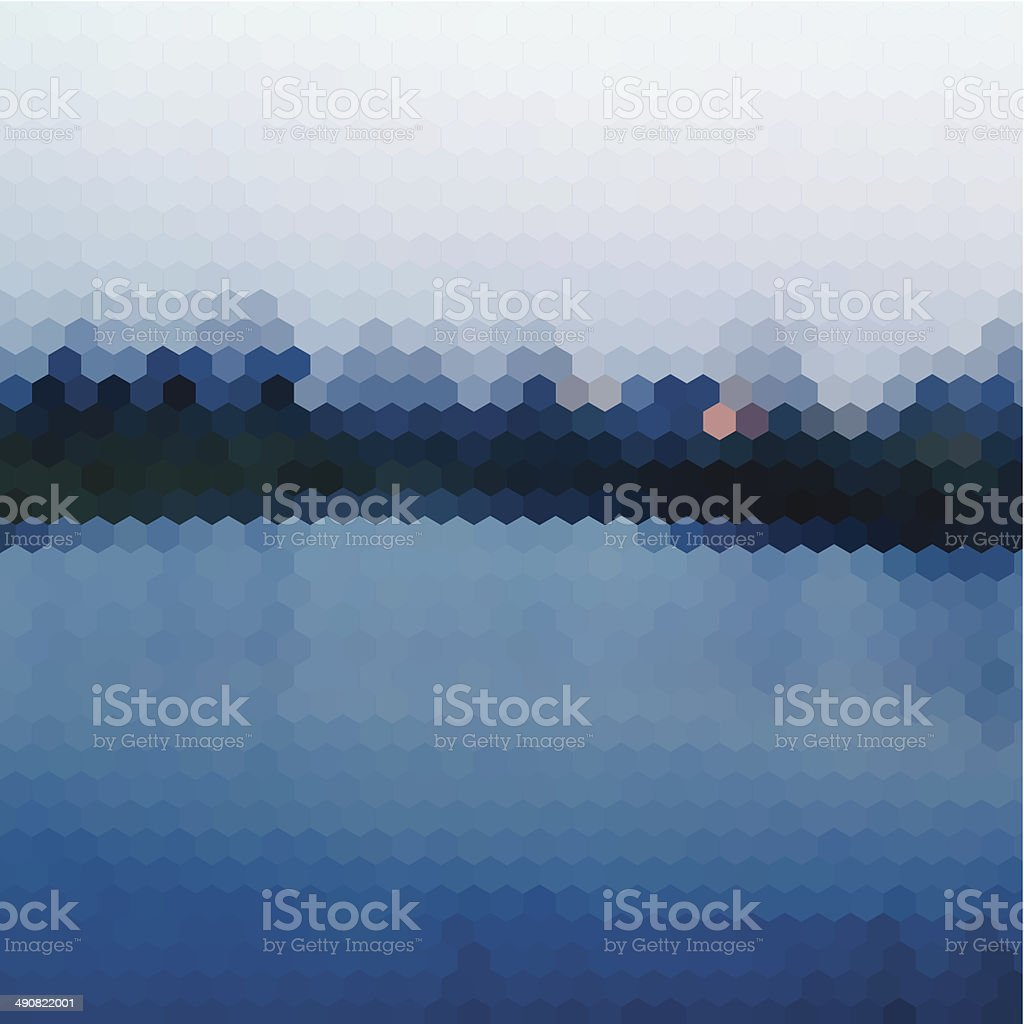 abstract blue hexagon nature landscape pattern background vector art illustration