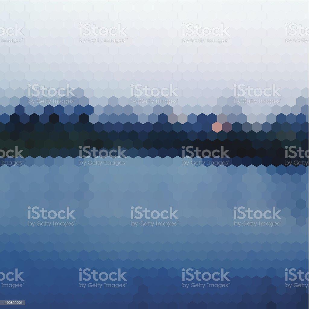 abstract blue hexagon nature landscape pattern background vector art illustration
