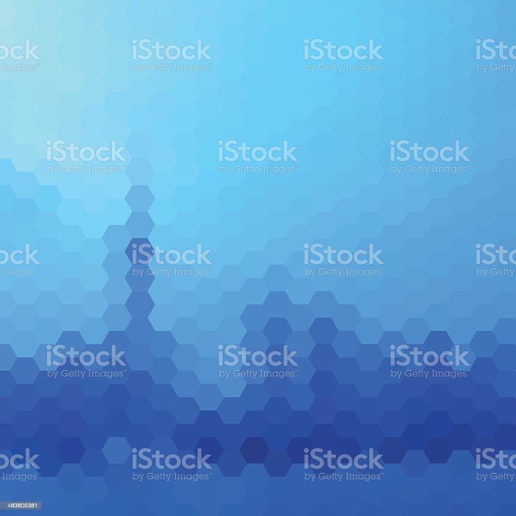 abstract blue hexagon pattern background vector art illustration