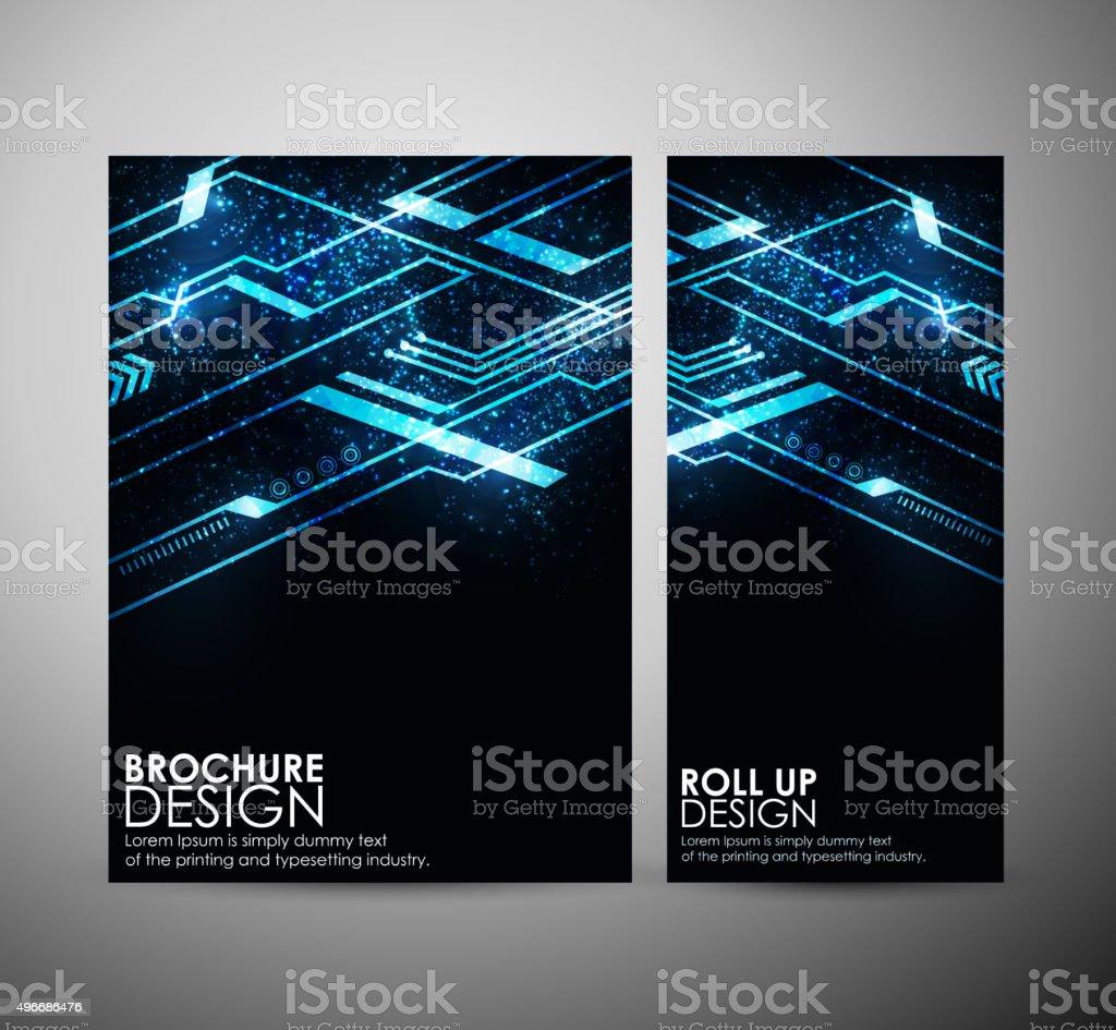 Abstract blue hi-tech brochure business design template or roll up. vector art illustration